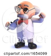3d Cartoon Mad Scientist Professor Blows The Whistle