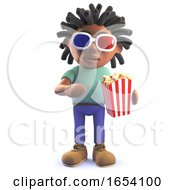 African Rastafarian Man In 3d Eating Popcorn And Wearing 3d Glasses