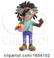 African Rastafarian Man In 3d Holding An Apple