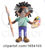 Poster, Art Print Of African Rastafarian Man In 3d Holding A Paint Brush And Palette