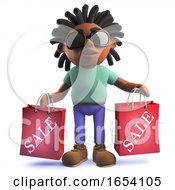 African Rastafarian Man In 3d Holding Shopping Bags From The Sale by Steve Young