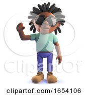 3d Black African Rastafarian Man Waving A Cheerful Hello