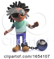 3d African Rastafarian Man In 3d With A Ball And Chain