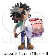 Black African Male Character In 3d Playing A Bass Drum