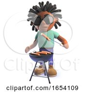 Black African Male Character In 3d Cooking A Barbecue Bbq