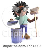 3d Black African Dreadlocked Man With Trash Can And Broom