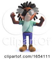 Black African Dreadlocked Character Male In 3d With His Arms In The Air