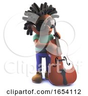 Black African American Man In 3d Playing A Double Bass