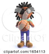 Black African Male Character In 3d Holding A Basketball