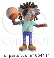 Rastafarian African Man Playing Basketball In 3d