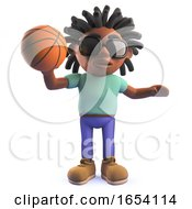 Rastafarian African Man Playing Basketball In 3d by Steve Young