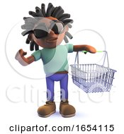 African Rastafarian Man In 3d Holding A Shopping Basket