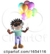 3d African Rastafarian Man Holding Some Party Balloons