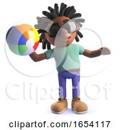 Black Man With Dreadlocks Playing With A Beach Ball 3d Illustration