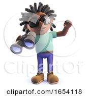 Black Man With Dreadlocks Holding A Pair Of Binoculars 3d Illustration