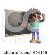 3d Black Man With Dreadlocks Teaching At A Blackboard