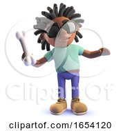 Black Man With Dreadlocks Throwing A Bone For His Dog 3d Illustration