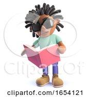 Black Man With Dreadlocks Reading A Book 3d Illustration