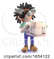 Black Man With Dreadlocks Delivering A Cardboard Box 3d Illustration