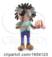 Dreadlocked Black Man Holding A Human Brain 3d Illustration by Steve Young