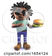 Black Man With Dreadlocks Eating A Cheeseburger 3d Illustration