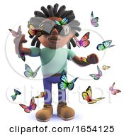 Black Man With Dreadlocks Surrounded By Pretty Butterflies 3d Illustration