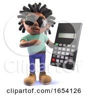 Black Man With Dreadlocks Holding A Digital Calculator 3d Illustration