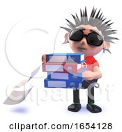 3d Vicious Punk Rock Character Carrying Folders And Dropping Files