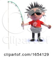 3d Rotten Punk Rocker Character Fishing