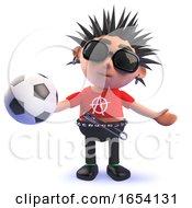3d Vicious Punk Rock Character Holding A Soccer Ball