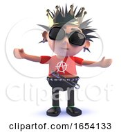 King Punk Rock Character In 3d Wearing A Royal Gold Crown