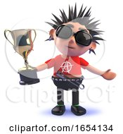 3d Punk Rock Character Holding A Gold Cup Trophy Award