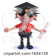 Vicious Punk Rock Character Wearing A Mortar Board And Holding A Diploma by Steve Young