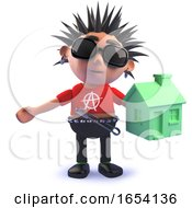 Punk Rock Character In 3d Holding A Green Renewable Energy House