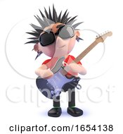 Poster, Art Print Of 3d Vicious Punk Rock Character In 3d Playing An Electric Guitar