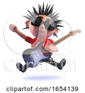 Poster, Art Print Of Performing Punk Rock Character In 3d Playing Electric Guitar