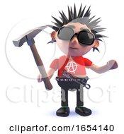 3d Rotten Punk Rock Character Holding A Hammer