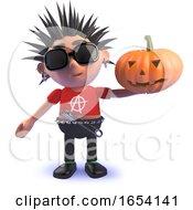 Vicious 3d Punk Rock Character Holding A Halloween Pumpkin by Steve Young