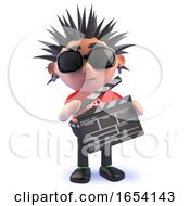 3d Punk Rock Character Holding A Movie Slate
