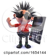 Punk Rocker Character In 3d Holding A Digital Calculator