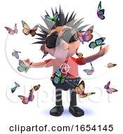 3d Punk Rocker Surrounded By Butterflies