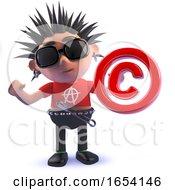 3d Punk Rocker Character Holding A Copyright Symbol