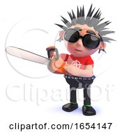 Punk Rocker Character In 3d Playing With A Chainsaw