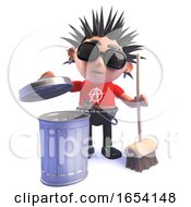 Punk Rocker In 3d Cleaning With A Broom And Trash Can by Steve Young
