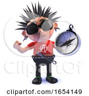 Punk Rocker Character In 3d Holding A Magnetic Compass by Steve Young