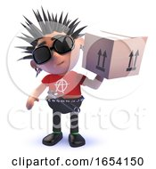 Vicious Punk Rocker Character In 3d Delivering A Cardboard Box by Steve Young