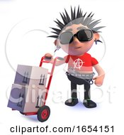 Punk Rocker Character In 3d Delivering Parcels On A Hand Trolley by Steve Young