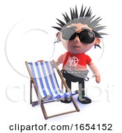 Punk Rocker In 3d Standing Next To A Holiday Deck Chair by Steve Young