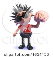 Punk Rocker Character In 3d Holding A Human Brain by Steve Young
