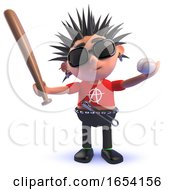 3d Punk Rocker Character Holding A Baseball Bat And Ball by Steve Young